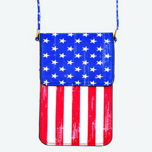 Handbags - American Flag Pattern Touch View Cell Phone bag